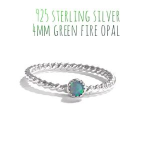 925S Light Green Fire Opal Roped Band Ring